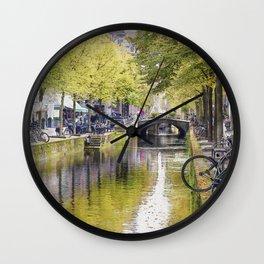 Amsterdam channels watercolour Wall Clock