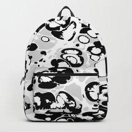 Black white gray ink paint spilled mess splashes platter effect Backpack