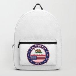 California, California t-shirt, California sticker, circle, California flag, white bg Backpack