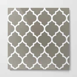 White on Beige Medallion Metal Print