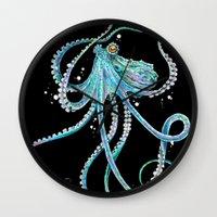drunk Wall Clocks featuring Drunk Octopus by TAOJB