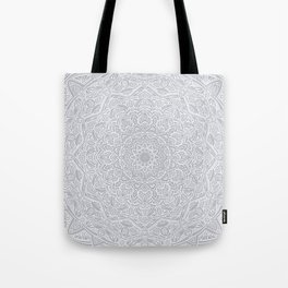 Most Detailed Mandala! Cool Gray White Color Intricate Detail Ethnic Mandalas Zentangle Maze Pattern Tote Bag