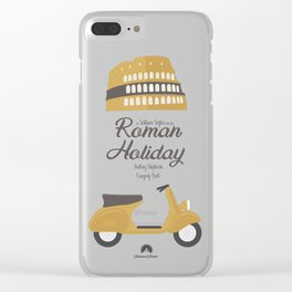 Roman Holiday, Audrey Hepburn,movie poster, Gregory Peck, William Wyler, romantic hollywood film Clear iPhone Case