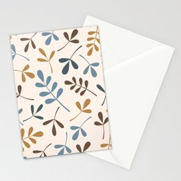 Assorted Leaf Silhouettes Blues Brown Gold Cream Stationery Cards