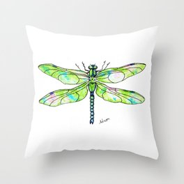 Watercolor Portrait of a Green Dragonfly  Throw Pillow