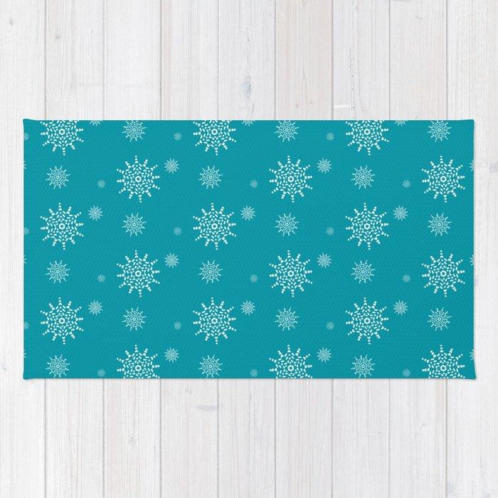 White Snowflakes on Turquoise Rug