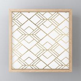 Geometrical white faux gold elegant stylish diamonds Framed Mini Art Print