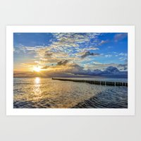 Beach in the morning after sunrise on Usedom Art Print
