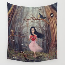 Girl sits on a swing  in a dark  forest Wall Tapestry