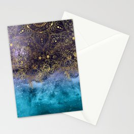 Gold floral mandala and confetti image Stationery Cards