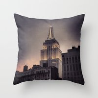 gotham Throw Pillows featuring Gotham by Amritha Mahesh