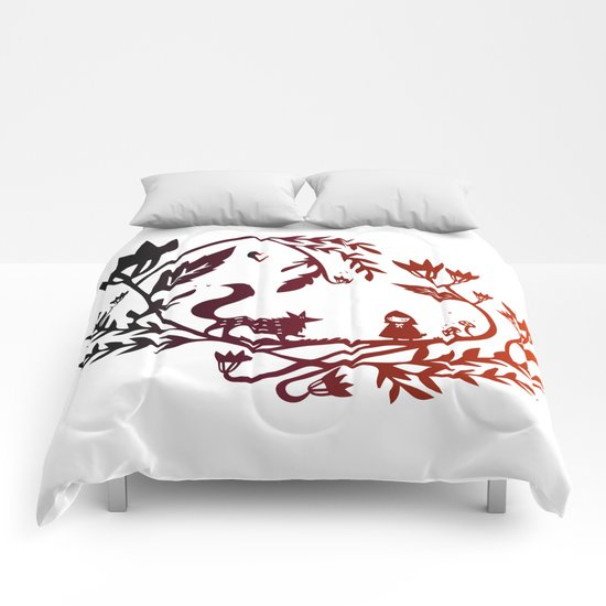 Red and wolf Comforters