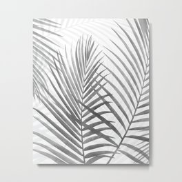 Black and White Tropical Palms Metal Print