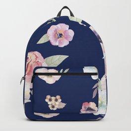 Floral I - Dark New Navy Backpack