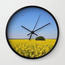 Spring yellow rape field Wall Clock