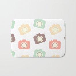 cute colorful flat camera pattern background illustration Bath Mat