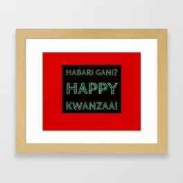 Habari Gani? Happy Kwanzaa! Framed Art Print