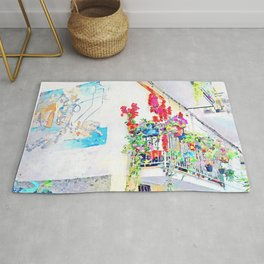 Murals and flowered balcony Rug