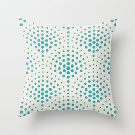 Aqua Teal Turquoise Solid Color Polka Dot Scallop Pattern on Alabaster White - Aquarium SW 6767 Throw Pillow