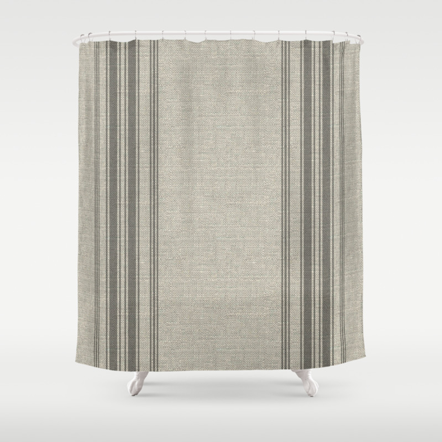 Farmhouse Linen Grey Rustic Grain Sack Texture Vintage Farmhouse Lined Linen Design Modern Rustic Shower Curtain