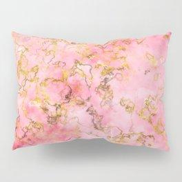 Raspberry Kiss - Pink Gold Marble Pillow Sham