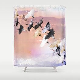 Japanese cranes Shower Curtain