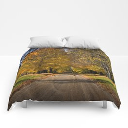Rural country gravel road in Autumn Comforters