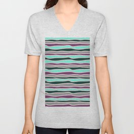 Geometrical mauve violet teal gray forest green stripes Unisex V-Neck