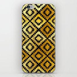 Turkish carpet gold black. Patchwork mosaic oriental kilim rug iPhone Skin