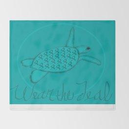 Wear the Teal Ovarian Cancer Awareness Sea Turtle Throw Blanket