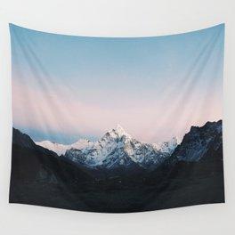 Blue & Pink Himalaya Mountains Wall Tapestry