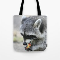 racoon Tote Bags featuring Racoon 003 by jamfoto