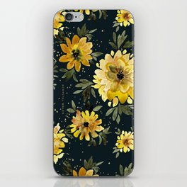 Sunflower Sparkle - black iPhone Skin