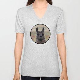 Llama Portrait - 2 Unisex V-Neck