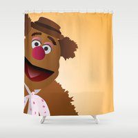 muppets Shower Curtains featuring Fozzie - Muppets Collection by Bryan Vogel