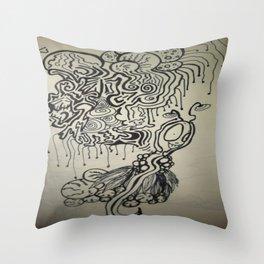 Alien Ink Doodle Throw Pillow