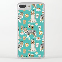Shetland Sheepdog blue merle sheltie dog breed coffee pattern dogs portrait sheepdogs art Clear iPhone Case