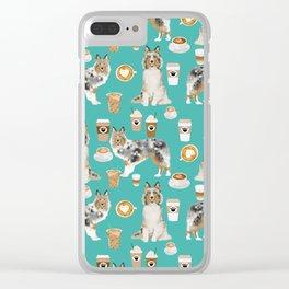 Shetland Sheepdog blue merle sheltie dog breed coffee pattern dogs portrait sheepdogs art Clear iPhone Case