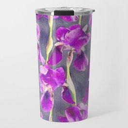 Simple Iris Pattern in Warm Magenta Travel Mug
