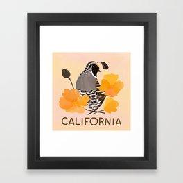 California State Bird and Flower Framed Art Print