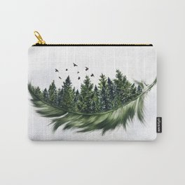 Earth Feather • Green Feather (horizontal) Carry-All Pouch