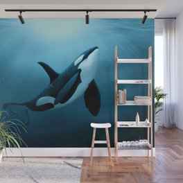"""The Dreamer"" by Amber Marine ~ Orca / Killer Whale Art, (Copyright 2015) Wall Mural"