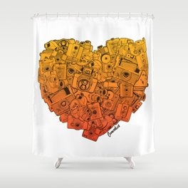 Camera Heart - gradient Shower Curtain