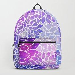 Space Dahlias Fuchsia Purple Blue Backpack