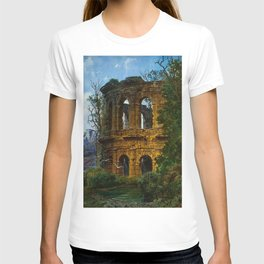 Roman Italian Ruins At Twilight with flying birds in foreground landscape painting by Ferdinand Knab T-shirt