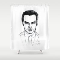 moriarty Shower Curtains featuring Andrew Scott as Jim Moriarty from Sherlock Etching by ieIndigoEast