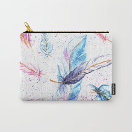 Watercolor Feather Art Pattern Carry-All Pouch