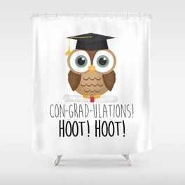 Con-grad-ulations! Hoot! Hoot! Shower Curtain