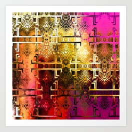 1001 Lights Pattern (gold-magenta-vermillion) Art Print
