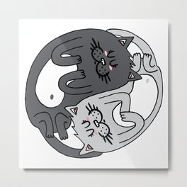 Yin & Yang cats - black & white Metal Print